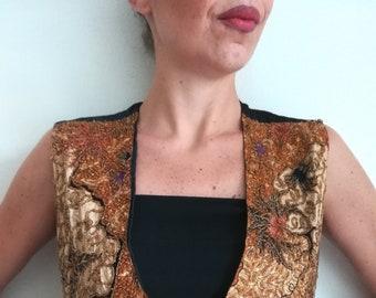 KENAR BEADS VEST Vintage 80 Unisex Vest Hand Beaded Floral Ocher Gold Cotton Rayon Gilet sz. L