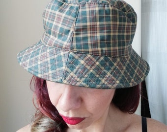 TARTAN BUCKET HAT Vintage 90  Sport Club  Unisex Hat Woman Man Reversible  Hat Green Beige Hat bafeeefc89e5