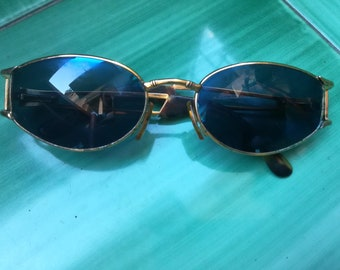 b7ab15d8d2 VOGART by POLICE SUNGLASSES Vintage 90 Woman Oval Sunglasses Mod. 3524 Blue  Lenses Gold Tone Metal Frame Spotted Havana