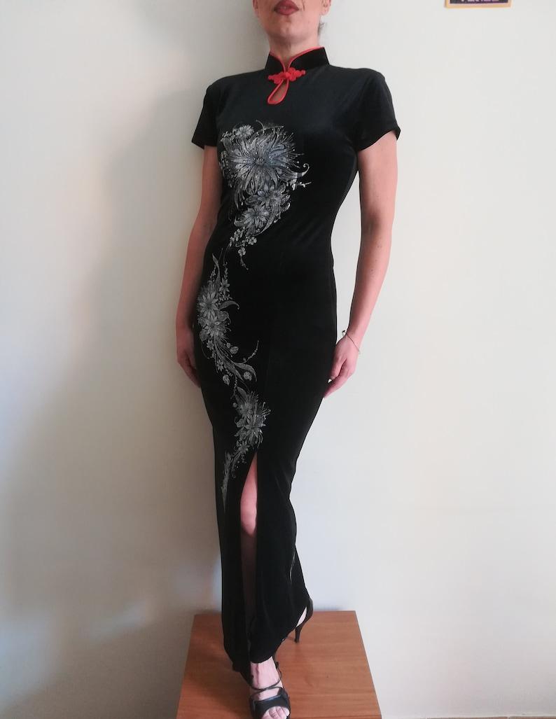4d29917c2420 HOLLYWOOD Fashion CHEONGSAM DRESS Vintage 90 Woman Maxi-Dress