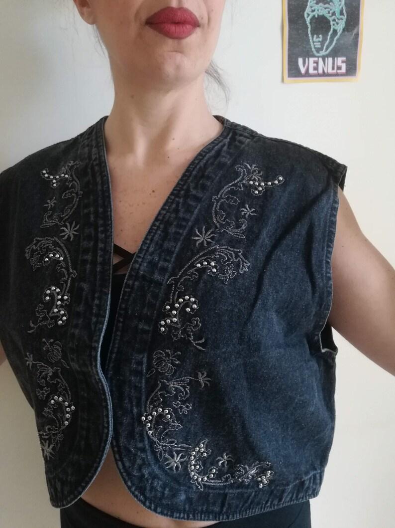 EMBROIDERED DENIM VEST Vintage 80 Woman Vest Black Jeans Gil\u00e8 Domed Denim Vest Round Bottom sz 50
