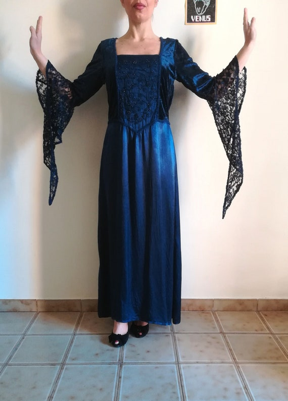 MEDIEVAL COSTUME DRESS Woman Witchy Dress Blue Ray