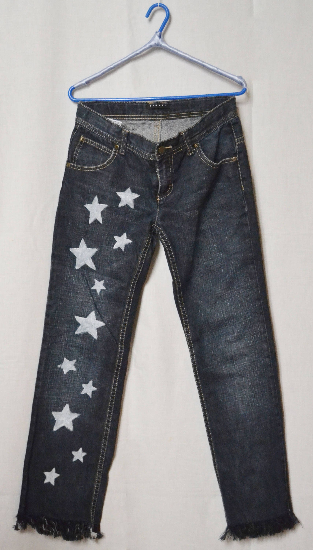 d5de708286 SISLEY GIRLFRIEND JEANS Woman Pants Hand-Painted Stars Jeans