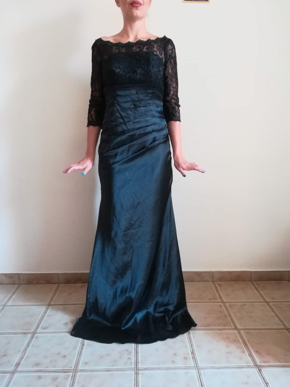 LACE GOWN DRESS Vintage 90 Woman Prom Dress Black