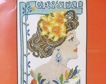 Birthday Girl April Crystal • Counted Cross Stitch Pattern Kit • Art Nouveau Deco Lady Fashion • Amathusia X-Stitch XStitch Patterns Leaflet
