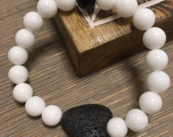 Jade, tourmaline, lava stone
