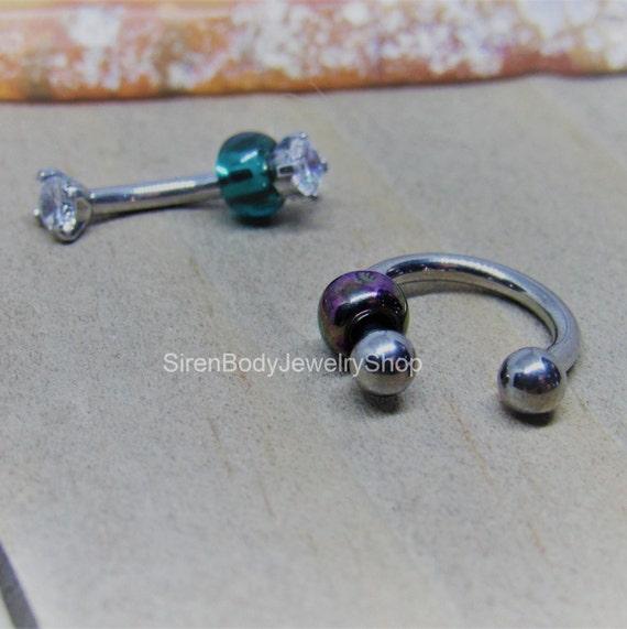 Round GEM Curved Bent Barbells Eyebrow RINGS EAR Daith Rook Snug Studs Jewelry