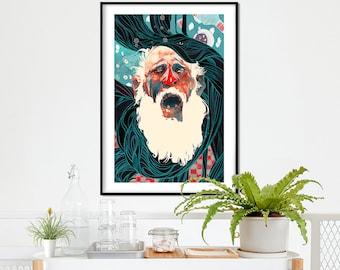 Tired Santa ! Limited edition! Illustration art print