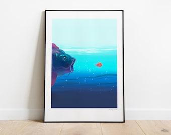 Big Fish. Illustration art print.