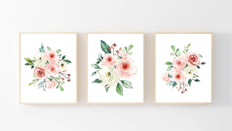 Girls Nursery Wall Art Watercolor Pink Flowers for Baby Girls Set of 3 Blush Pink Floral for a Farmhouse Nursery Decor