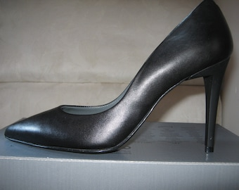 Handmade Heel shoes elegant natural leather,n. 39 made in Italy