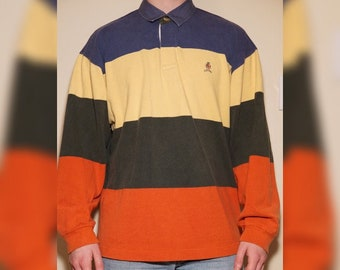 75b12f6f41f19e RARE Tommy Hilfiger Vintage 1990s Long Sleeve Polo Color Block Tee Lion  Crest Rugby Shirt Mens XL Orange Green Yellow and Blue