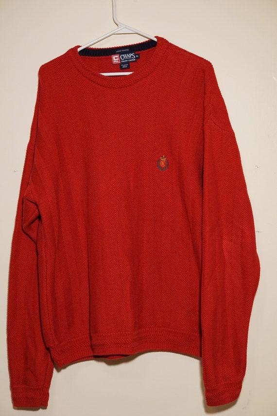 90s Tommy Hilfiger Red Sweater Lion Crest