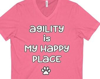 Dog Agility Short Sleeve VNeck Tee  Agility Is My Happy Place