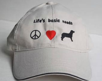 Baseball Hat - Life's Basic Needs, Peace, Love, Dog; embroidered hat for dog lover; perfect gift for dog mom or dog dad; cozy and classic