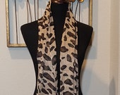 Cheetah Coat Scarf, Animal Print Scarf, Light Coat Scarf, Black Brown Scarf, Fringed Cheetah Scarf, Neck Scarf, Gift Idea, Scarf Collector