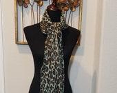 Teal Cheetah Scarf, Animal Print Scarf, Light Coat Scarf, Teal Brown Scarf, Fringed Cheetah Scarf, Neck Scarf, Gift Idea, Scarf Collector
