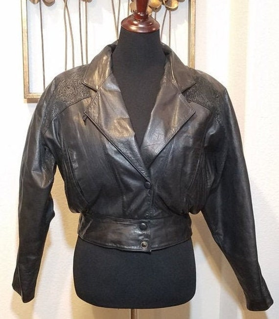 Byrnes & Baker Leather Jacket, Vintage Cropped Le… - image 1
