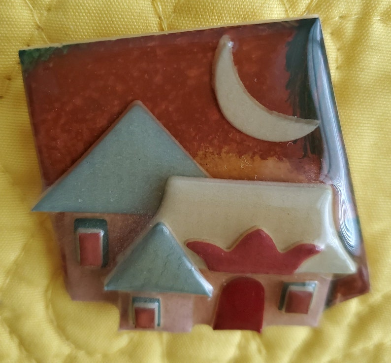 Acrylic House Brooch Vintage Brooch Vintage Lucinda House  Full Moon Brooch House Pin by Lucinda Lucinda Pin Lucinda Yates Brooch