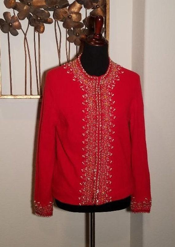 Vintage Red Cardigan, Cardigan Sweater, Vintage Cl