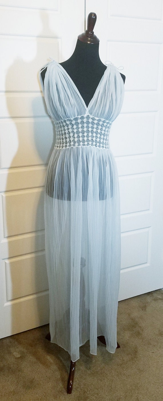 1930s Blue Sheer Smocked  Negligee, 1930s Vintage,