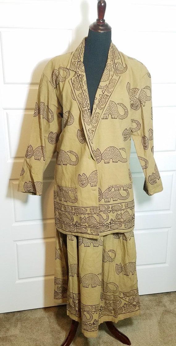 Vintage India Cotton Cat Skirt Suit, Cotton Suit,
