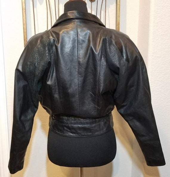 Byrnes & Baker Leather Jacket, Vintage Cropped Le… - image 3