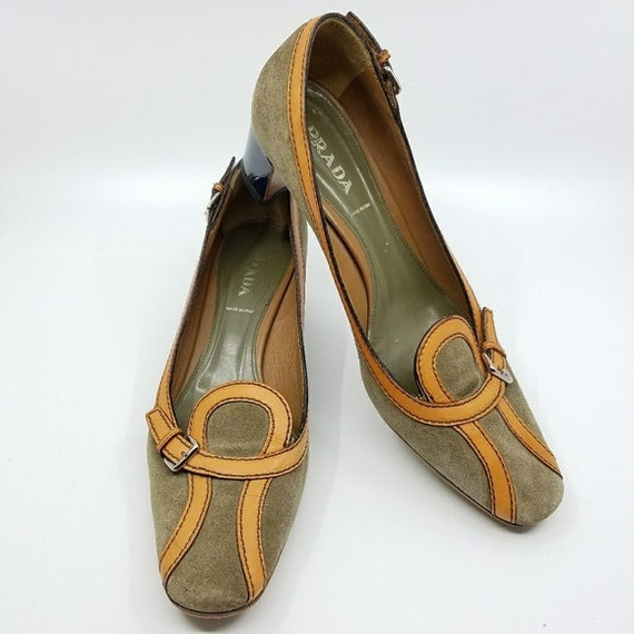 Vintage PRADA Shoe, Squared Round Toe, Vintage Sue