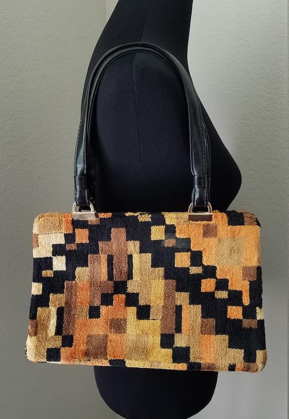 Vintage Carpet Handbag, Vintage Textile Handbag, K