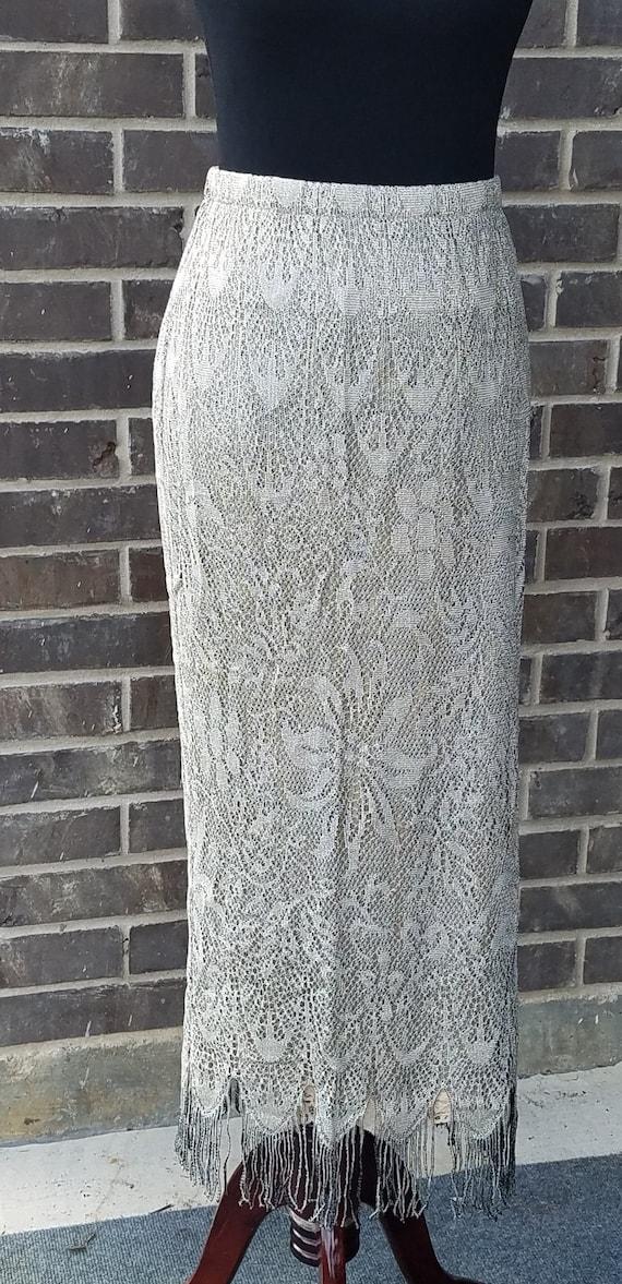 Vintage Gold Metallic Fringe Lace Skirt, Vintage K