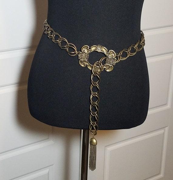 Vintage Chain Belt, Vintage Tasseled Belt, Metal C