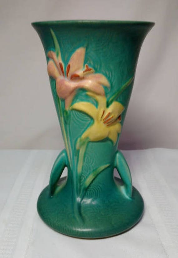 Roseville Pottery Zephyr Lily Large Green Double Handled Etsy