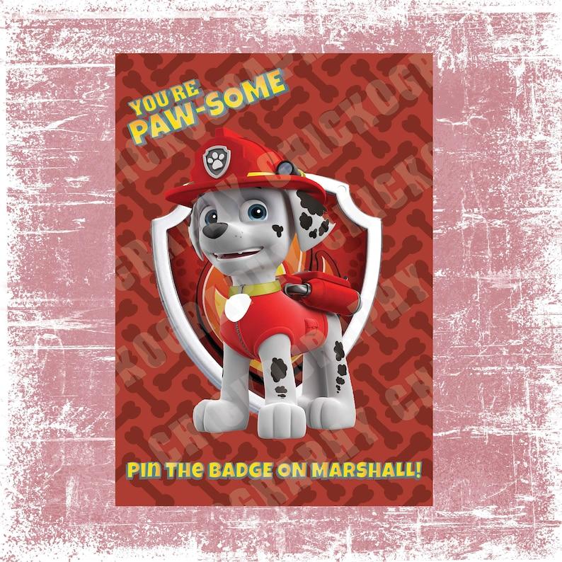 picture regarding Marshalls Application Printable named Pin the Badge upon Marshall - Paw Patrol Birthday Printable Video game