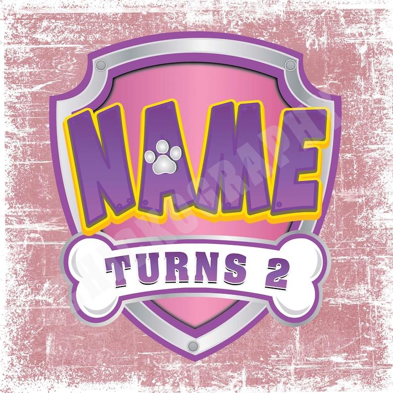 paw patrol logo voor meisjes aangepast met naam en