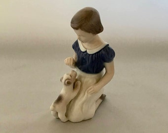 1960's Bing and Grondahl Figurine. Vintage Bing and Grondahl Girl with Puppy. 1960's Porcelain Figurine Girl with Puppy. Bing and Grondahl.