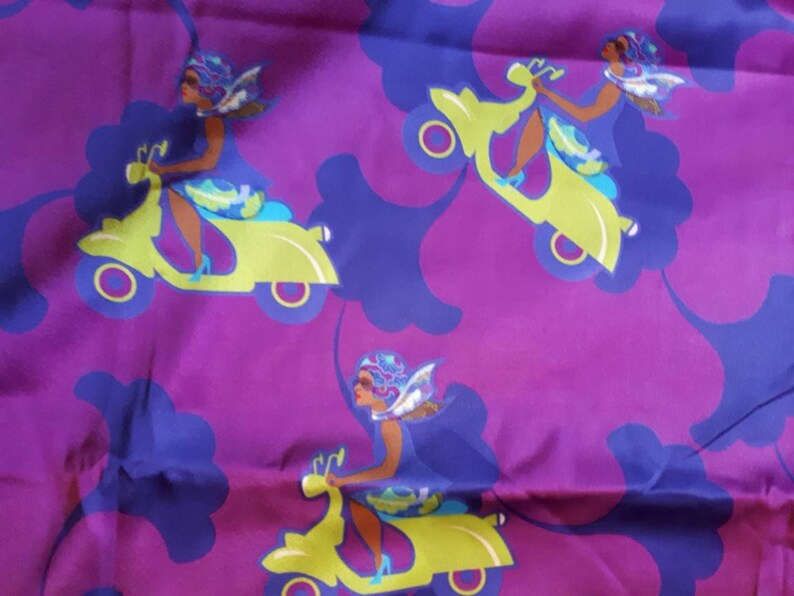African Cloth scooter print Poly Satin Fabric Fabric by the yard Headwrap African Print Satin Ankara flowers Biker girl Red Satin