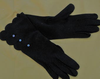 Vintage Black hand stitched gloves with cut work and mother of pearl buttonsf