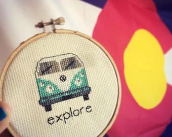 Explore VW Van completed cross stitch