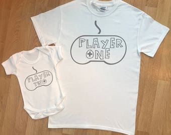 Player One Player Two Gamer -  matching father and baby set, baby bodysuit and dad tshirt, christmas gift, fathers day gift, baby gift set