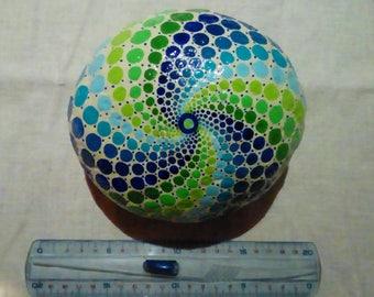 Mandala inspired hand painted Pebble