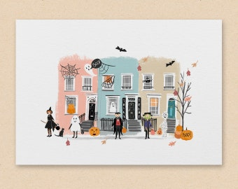 Halloween Print A4 / A5 - A spooky Illustrated trick or treat scene, A fun cute print for your home