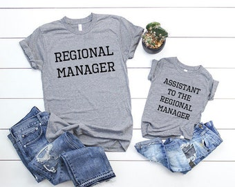 f47f47d1e Regional Manager/Assistant To The, Father's Day Gift Set, Father Son  Matching Shirts, Dad and Son, Family Picture Shirts, The Office