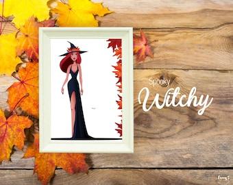Illustrations à la carte Spooky Witchy