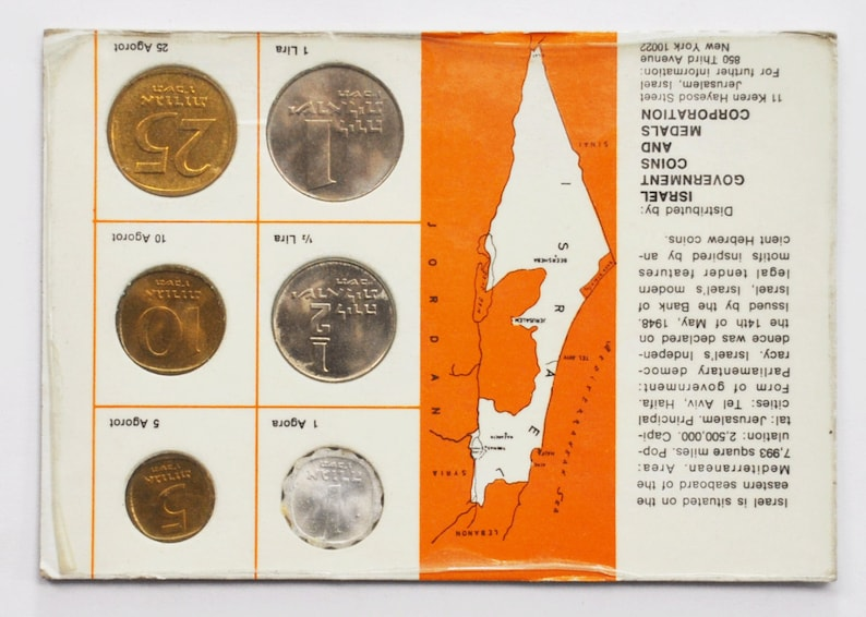 1966 Coins of Israel Proof Like 6 Coin Set Uncirculated in Package