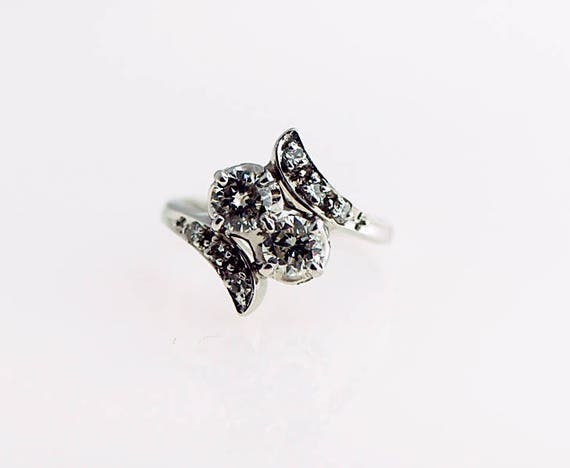 Art Deco Diamond Ring Two Stone  1.00 Ct Total Wei