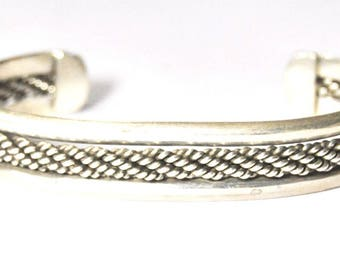 """Tahe Style Weave Mexico Sterling Silver Bangle Cuff Bracelet 2.75"""" 18mm 7"""" Wrist"""