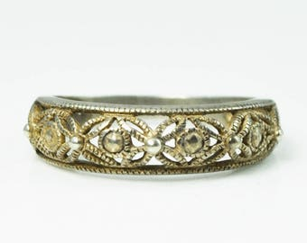 Beautiful Sterling Silver RJ Filigree Lace Ring 6mm Band Size 7
