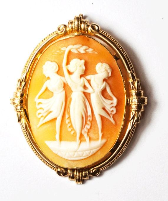Antique Cameo Brooch 14k Rose Gold Dancing Balleri