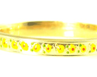 "14k LEE Yellow Enamel Flower Child Hinged Bangle Bracelet 4 1/2"" Wrist 6mm"
