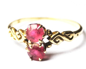 Antique 14k Yellow Gold Double Ruby Scroll 9mm Figure 8 Ring Size 8